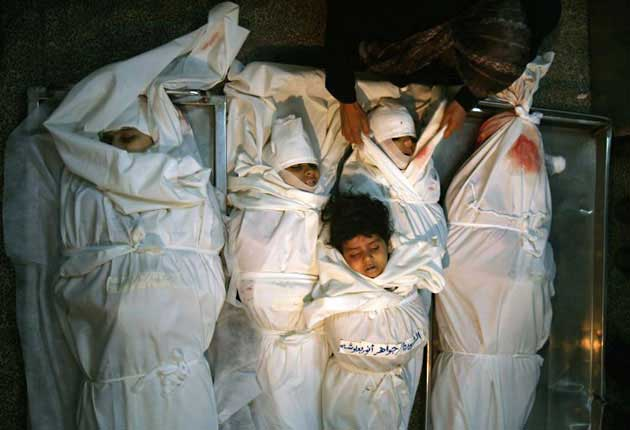 Dead babies in Gaza, many more in       Damascus, Aleppo, thanks to USA wanting to nail IRAN, get all the       OIL.