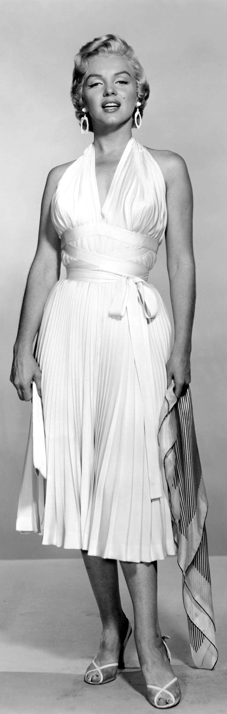 "Marilyn Monroe in an iconic white dress from ""The Seven Year Itch,"" 1955."