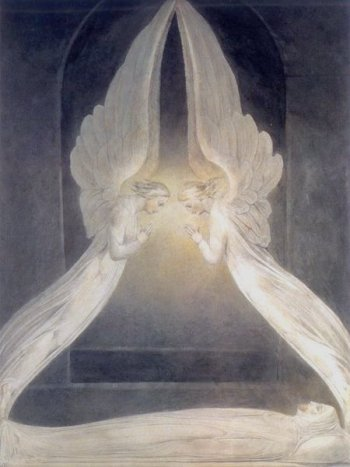 [Blake Print - Angels Hovering Over the Body of Jesus in the Sepulchre]